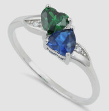 925 Pure Sterling Silver CZ Zirconia Double Heart Green Blue Two Hearts Sm Lg