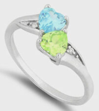 925 Pure Sterling Silver CZ Zirconia Double Aqua Yellow Two Hearts Sm Lg Sizes
