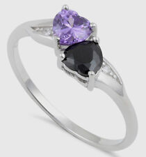 925 Pure Sterling Silver CZ Zirconia Double Heart Ring Purple Black Two Hearts