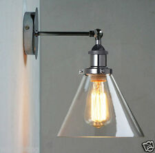 Modern Vintage Industrial Sconce Adjustable Glass Wall Lamp Light Chrome Shade
