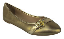 City Classified Women Casual Flat Shoe Pointy Toe Gold Gel Insole Comfy BROIL-H