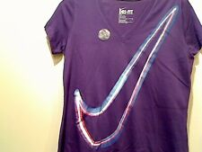 Nike Women's Dri Fit Cotton Slim Fit Exploded Swoosh Logo T Shirt  Save 40%!!