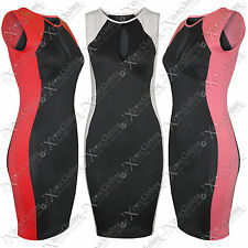 NEW WOMENS LADIES KEYHOLE TOP CONTRAST SIDES DRESS SLIMMING EFFECT BLACK BODYCON