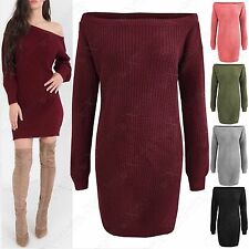NEW WOMENS OFF SHOULDER KNITTED JUMPER DRESS LONG BARDOT LADIES CHUNKY KNIT TOP