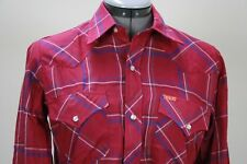 Ely Plains magenta blue plaid pearl snaps western shirts size 18 New without tag