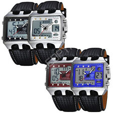 Military Analog Digital Quartz Alarm LED Dual Time Waterproof Sport Wrist Watch