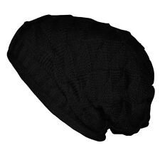 H1 Women Girl Triangle Slouchy Knit Beret Beanie Hat Cap Black