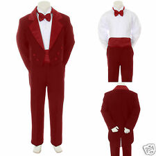Baby Infant Toddler Boy Burgundy Bow Tie Wedding Formal Tail Tuxedo Suit sz S-4T