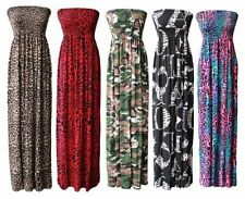 Womens Printed Ladies Gathered Bandeau Sheering Stretch Boobtube Long Maxi Dress
