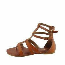 Bamboo Cope 26 Chestnut Women's Strappy Gladiator Thong Flat Sandals