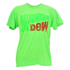 Mountain Dew Neon Green Tshirt Mens Soda Drink Distressed Retro Logo Tee