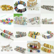 Fashion New Mixed Rhinestone Crystal European Spacer Alloy Charms Beads 50/300PC