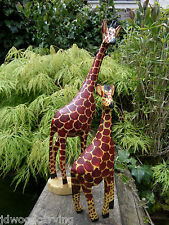 Fair Trade Hand Carved Made Wooden African Safari Giraffe Sculpture Ornament
