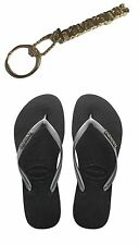 ORIGINAL HAVAIANAS SLIM LOGO METALLIC BLACK WOMENS FLIP FLOPS GIFT KEY CHAIN