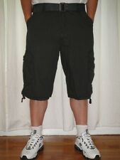 NWT M. SOCIETY Mens Casual Classic Belted Grey Cargo Shorts