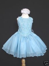 New Baby Girl & Toddler Pageant Wedding Dance Formal Party Dress Blue Green Pink