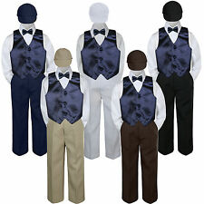 5pc Navy Blue Vest Bow tie Hat Suit Set Baby Boy Toddler Kid Uniform S-7