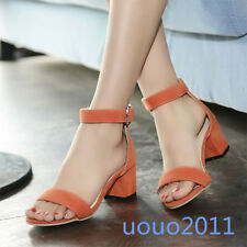 Womens Open Toe Faux Suede Pumps Block Chunky Heels Ankle Strap Sandals Shoes Sz