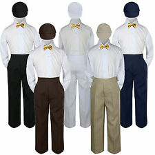 4pc Mustard Yellow Bow Tie Party Suit Pants Set Baby Boy Toddler Kid S-7