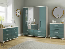 FULLY ASSEMBLED New Roma High Gloss 6 Drawer Wide Chest of Drawers Furniture