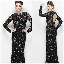 NEW Primavera Couture 9969Long-Sleeved Contrast Flower Evening Gown black $479