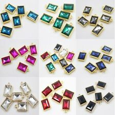 10Pcs Fashion Crystal Glass Charm Rectangle Necklace Pendant Jewelry
