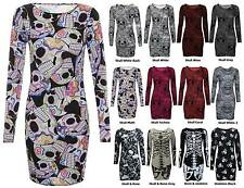 Women Ladies Long Sleeve Halloween Skeleton Skull Rose Bone Print Bodycon Tunic