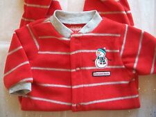 CARTERS CHRISTMAS SNOWMAN RED MICROFLEECE SLEEP AND PLAY BABY OUTFIT