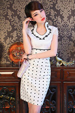 white Sexy Chinese women's embroidery cotton Evening Dress/Cheong-sam 6- 14