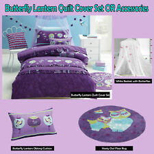 BUTTERFLY LANTERN Purple Quilt Duvet Cover Set SINGLE DOUBLE OR Accessories