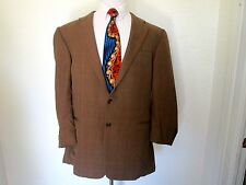 Hickey Freeman Wool Brown Blue Yellow Windowpane Sport Coat Blazer 46R CEO Exc!