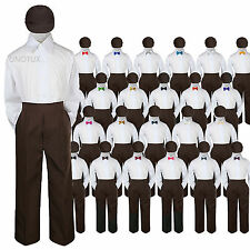 Baby Kid Boys Wedding Formal 4pc Set Shirt Brown Pants Bow Tie Hat Suit size S-7
