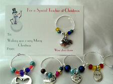 Special teachers wine charm - christmas gift, thank you, card, personalised