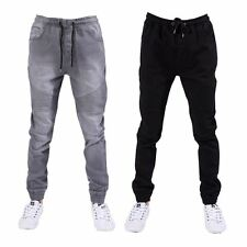 Seven Series Mens Skinny Fit Cuffed Jeans Elasticated Waist Stretch Denim Pants