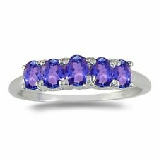 14K WHITE GOLD 1CT FIVE STONE TANZANITE RING