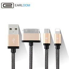 iPhone 4 5 6S + Samsung (8 Pin 30 Pin Micro) 3 in 1 USB Charger Cable Adapter