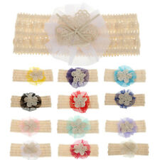 Newborn Infant Baby Girl Kid Hair Band Elastic Lace Flower Bow Headwear Headband
