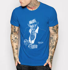 New Johnny Cash Men's T-shirt Fashion Blue Tee Shirt M L XL 2XL 3XL