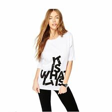 Women Casual Short Sleeves Letter Printed White T-shirts Tops Shirts Blouse