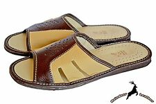 New Mens Real Buffalo Leather Handmade In Poland Indoor Slippers Sandal Slip On