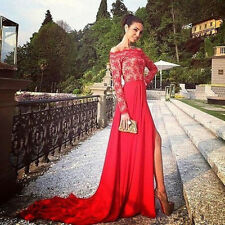 Sexy Red Lace Split Long Train Evening Prom Dresses Party Pageant Dresses