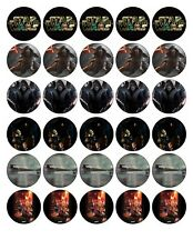 30x 4cm STAR WARS EDIBLE FONDANT/WAFER FAIRY CUP CAKE TOPPERS