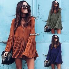 Women Sexy V Neck Long Sleeve Long Blouse Loose Top Pleated Casual Mini Dress