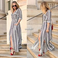 Sexy Women Striped Side Slit Split Party Dress Long Maxi Dress Shirt Dress EA9