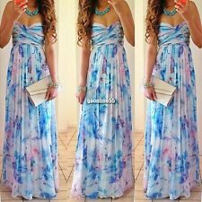 Women Boho Chiffon Sexy Strapless Maxi Floral Cocktail Party Long Dress EA9