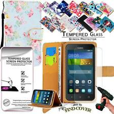 Leather Wallet Case + 100%Tempered Glass Screen Protector For Huawei Ascend Y530
