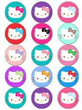 HELLO KITTY FACE EDIBLE WAFER PAPER TOPPERS CUPCAKES CAKE POPS MUFFINS