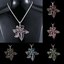 New Rhinestone Crystal Flower Pendant Necklace Silver Long Sweater Chain Charm