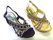 New Youth Kid's Girl's Party Pageant Sandals Dress Shoes Rhinestones  Low Heel