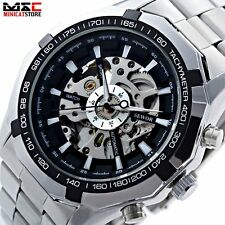 Mens Mechanical Skeleton Automatic Sport Army Luxury Stainless Steel Wrist Watch